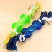 Rubber Bone type Dog Toys For Small Dogs Pet Molars Chew Tooth pet Bites Cotton Rope toys cat interactive toy