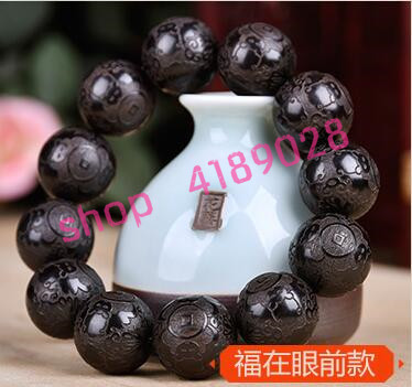 Natural Indonesian ebony, engraving six words genuine beads bracelet, natural materials handicrafts accessories.