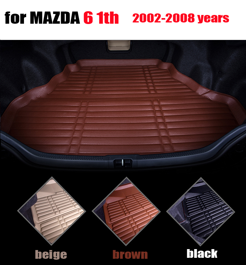 waterproof car trunk liner for MAZDA 6 2002-2008 years full surround cargo liner all weather car pad cargo mats auto accessories car rear trunk security shield cargo cover for volkswagen vw tiguan 2016 2017 2018 high qualit black beige auto accessories
