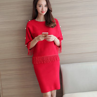 2016 New Knitted Sweaters Suit Dress Woman In Autumn Clothes Two Piece Fashion Tassel Package Hip