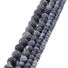 цена на 1strand/lot Natural Stone Beads Black 4 6 8 10 12 mm Frost Lace Frost Agat Onyx Beads For Jewelry Making Bracelet Beads Strand
