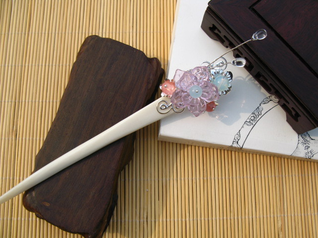 Fumeisheng OX Bone Glaze Beads Stone Cluster Hair Stick Vintage Hanfu Hair Accessory  with Long Silver Tassel pink crystal double layer classical hair stick vintage hair accessory hair stick hanfu hair accessory