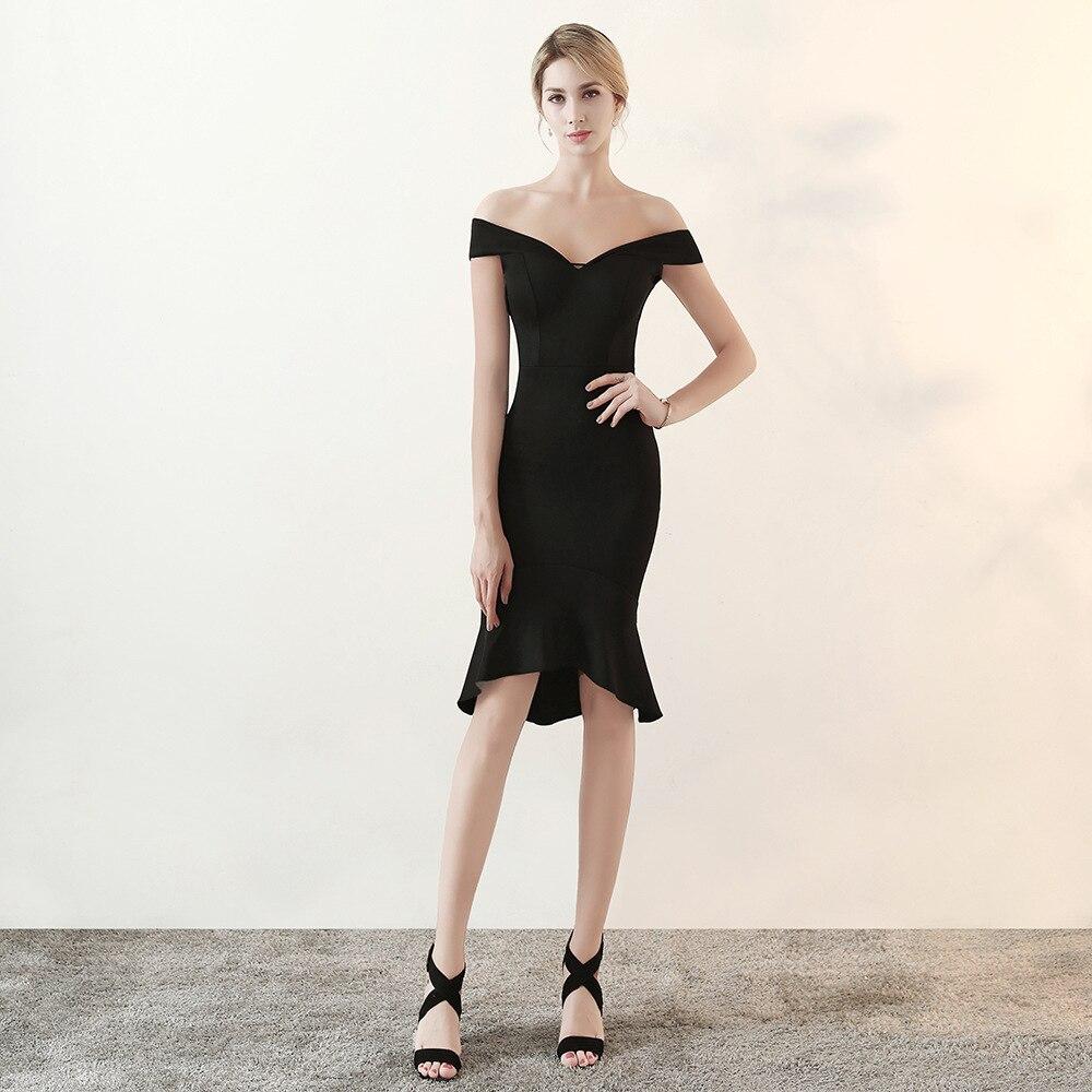 Femmes mode Sexy épaule dénudée robe de soirée en coton noir queue de poisson Slim Slash cou Club robe célébrité fête robes de piste