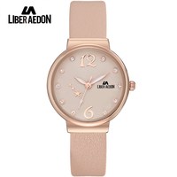 Liber Aedon Women Watches Crystal Rose Gold Tone With Fashion Leather Band And Water Resistant Quartz