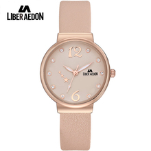 Liber Aedon Fashion Luxury Women Watches Crystal Leather Band Rose Gold Waterproof Quartz Ladies Women Wrist Watch Relogio 2017