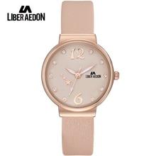Liber Aedon Fashion Luxury Women Watches Crystal Leather Band Rose Gold Waterproof Quartz Ladies Women Wrist Watch Relogio 2017