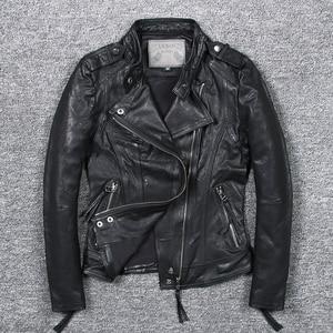 Image 3 - Womens slim fit fashionable genuine leather jacket green stand collar short moto biker leather jacket women sheepskin coat
