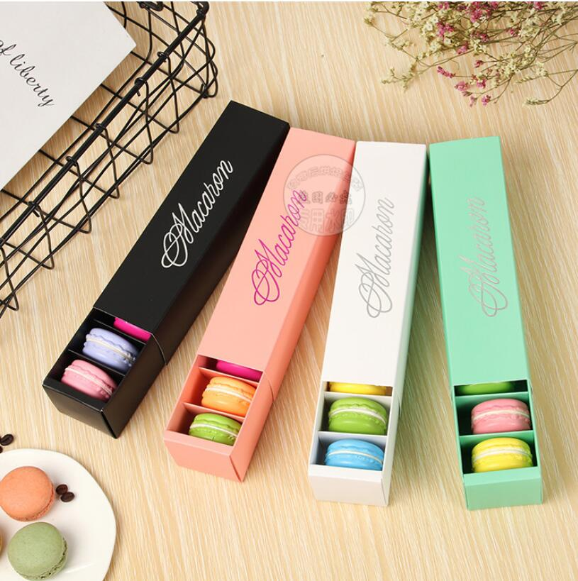 Free shipping Pink White Black and Green Dessert Macaron box 6 cavities colorful macarons pastry packaging