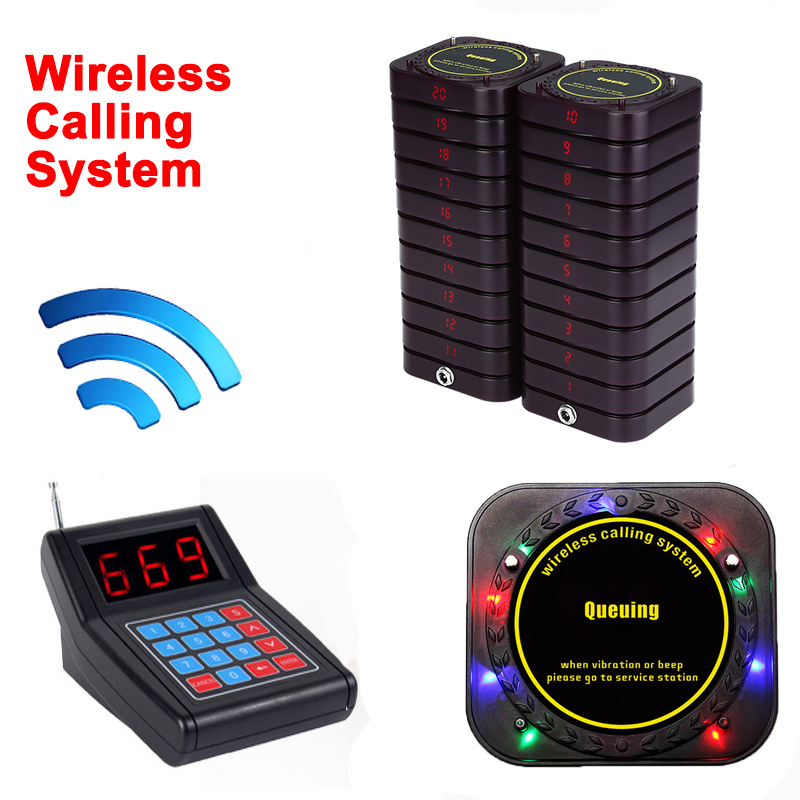 Wireless Restaurant Equipment Calling Queuing System 1 Transmitter+20 Receivers
