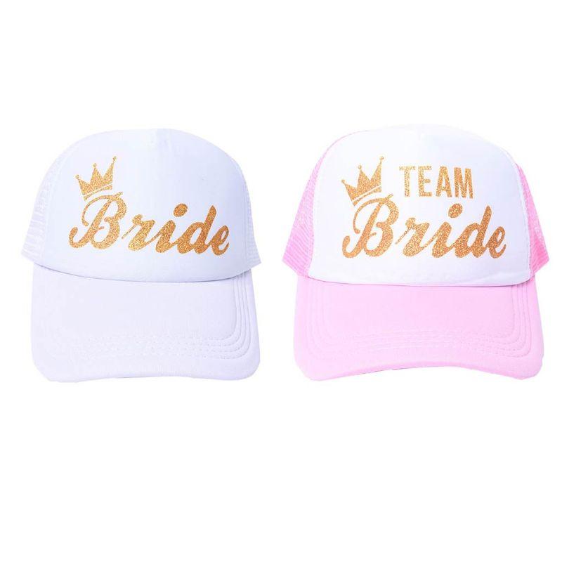 Women Wedding Shower Cotton Mesh   Baseball     Cap   Team Bride Gold Crown Bachelorette Party Snapback Bridal Trucker Hat Adjustable