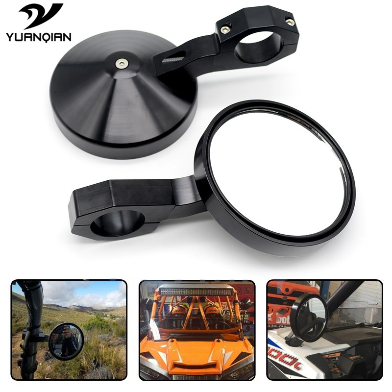 4.7 Round UTV Rearview Side Mirrors Clamp For Can am Commander Maverick For Polaris Ranger and RZR and RZR S and XP Perimeter