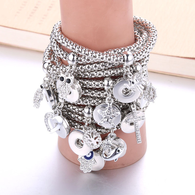 Boom Life New Silver Snap Bracelet For Women Fit DIY 18mm Snap Jewelry Elastic Snap Buttons Bracelet Jewelry 7467