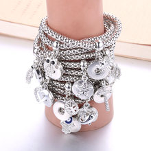 Boom Life New Silver Snap Bracelet For Women Fit DIY 18mm Snap Jewelry Elastic Snap Buttons Bracelet Jewelry 7467(China)