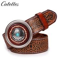 Catelles Round Buckle Jade Decoration Belt 100 Genuine Leather Hand Made Engrave Belt Fashion Cool Belt