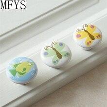 Round Animal Knobs Childrens Door Butterfly Fish Ceramic Kids Dresser Drawer Knob Cabinet Decorative