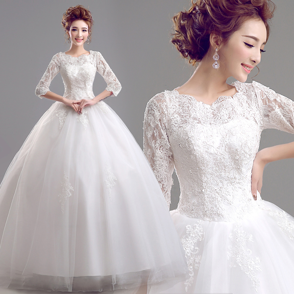 Korean Word Shoulder Sleeve Lace Princess Bride Wedding Dress Style
