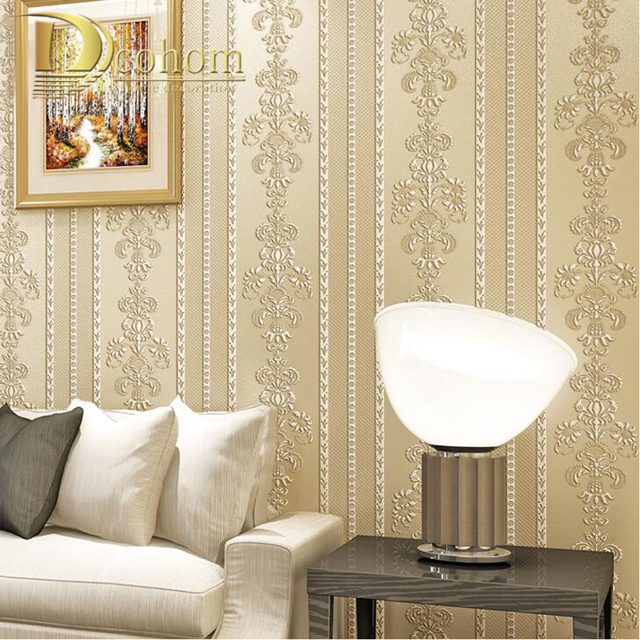 Deep Embossed 3D Damask Wall Paper Rolls For Walls Simple Luxury European Style Wallpaper Roll For living Room Bedroom Decor