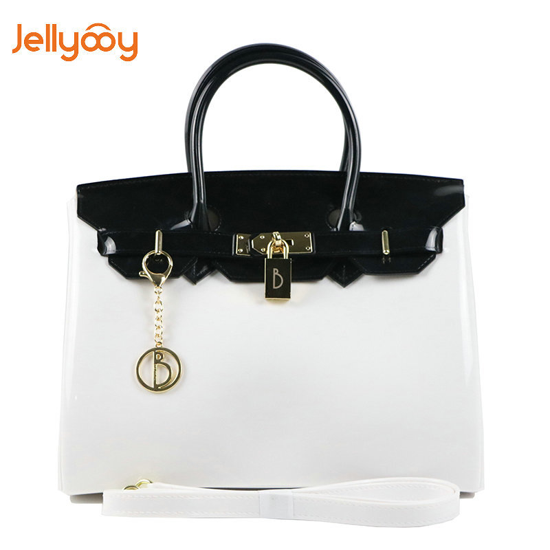 2018 New Summer PVC Fashion Women Bag Contrasting Jelly Bag Platinum Bag Beach Handbag free shipping butterfly shopping bag lovely pvc waterproof ted bag colorful jelly handbag women handbag with original logo