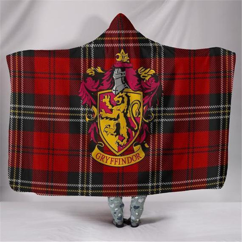 Harri Potter 3D Hooded Cloak Cosplay Gryffindor/Slytherin/Hufflepuff/Ravenclaw Blanket Warm Thicken Woman Girls Boys Blankets