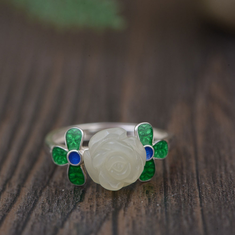 FNJ 925 Silver Jade Ring for Women Jewelry Natural Hetian Stone Fine 100% Pure S925 Sterling Silver Flower Ring Adjustable Size