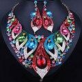 Moda Crystal Rhinestone Joyería Nupcial Conjunto Accesorios Del Vestido de Boda de Oro Pendiente Del Collar Set Para Novias Mujeres FCN28