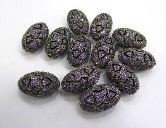 Grande perle en filigrane Micro Pave, breloque en filigrane CZ, bijoux faits à la main perle pavé Violet Violet vert saphir bleu rubis rouge perles 8-2