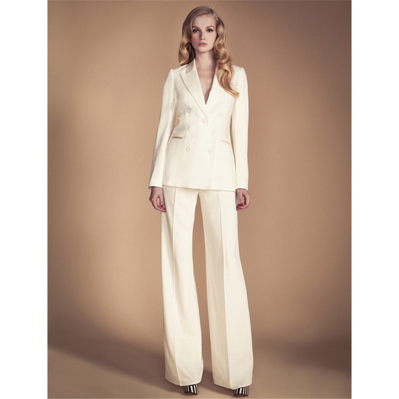 New Ivory Womens Business Suits 2 Two Piece Set Formal Wear Work Suits Female Business Suit Lady Trouser Suit Custom
