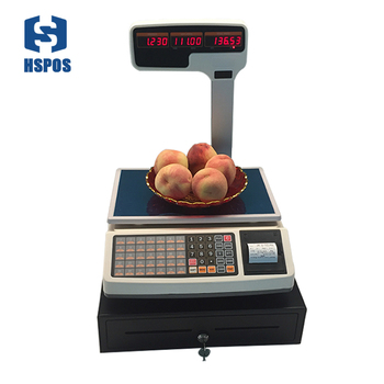 weighing scale1000 PLUs support thermal receipt printing with RJ11 port cash drawer together special for pos register system