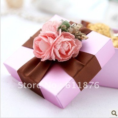 Decorated Gift Box Amusing Candy Box  Pink Gift Box With Artificial Flower Purple Ribbon Inspiration Design