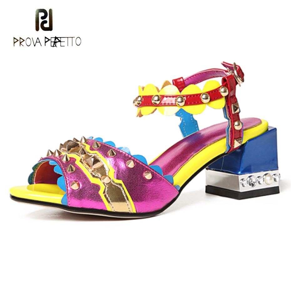 Prova Perfetto new fashion spike rivet mixed color sheepskin women sandals peep toe 5.5cm chunky heel ladies runway style shoes prova perfetto fashion new low heel flip flop shoes popular style mixed color genuine leather cozy women outside summer sandals