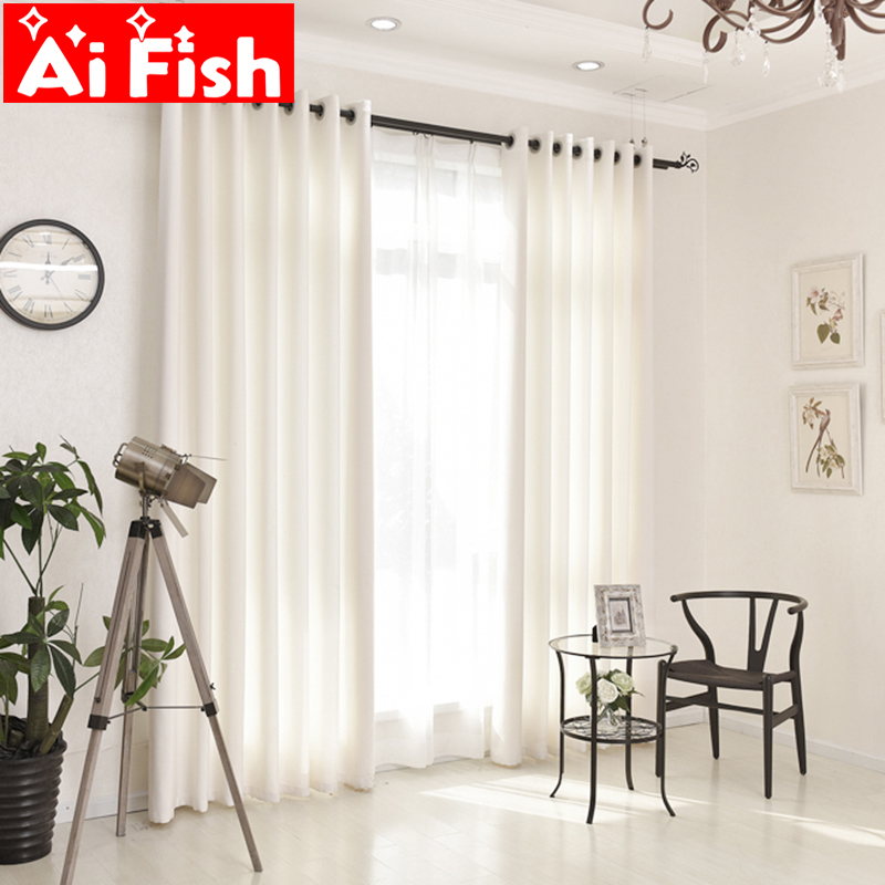 Modern White Pure Thick Window Curtain Living Room Translucent Blind Cotton Linen Tulle Curtain Fabric Window Drapes MY007#40