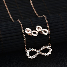 New Arrival Luxury Infinite  Jewelry Set 3 Colors Stainless Steel CZ Stone Necklace Earring Set Wedding Bridal  Gift