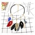 Листья ожерелье акриловые неправильной формы MI кожа ювелирные изделия заявление ожерелье za 2016 ожерелье этническая цветы ожерелья