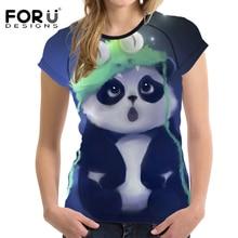 FORUDESIGNS Cute 3D Panda Women T Shirts For Teenager Girl Short Sleeved Women Tops Bodybuilding Slim Female Shirt Woman Clothes