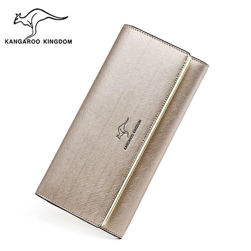 KANGAROO KINGDOM fashion women wallets split leather long female trifold wallet ID credit card holder purse цены онлайн