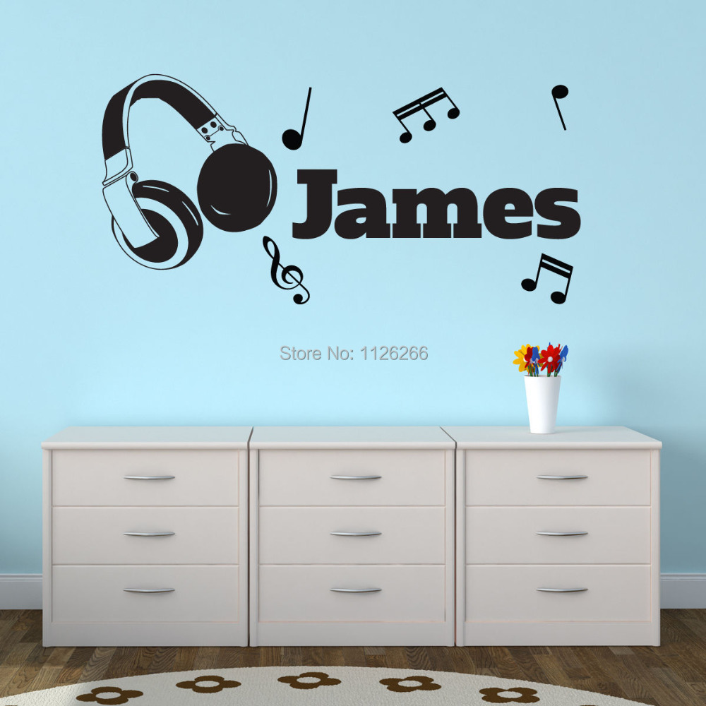 Personalised vinyl wall stickers images home wall decoration ideas personalised customize any boys name vinyl wall sticker headphones personalised customize any boys name vinyl wall amipublicfo Images