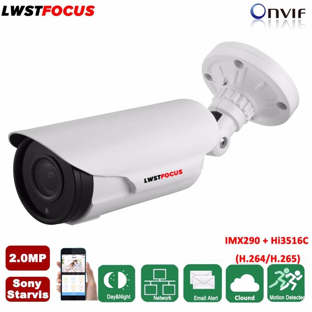 2MP IP camera Full HD 1080P POE onvif P2P SONY Starvis IMX290+Hi3516C Outdoor Security IP 2.8-12mm varifocal video surveillance h265 2mp sony imx290 hi3516c security ip