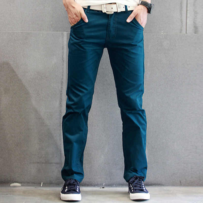 8 Colors New Casual Pencil Pants Men Slim Pant Straight Trousers Solid Leisure Zipper Spring Autumn Trousers Plus Size 8J0017