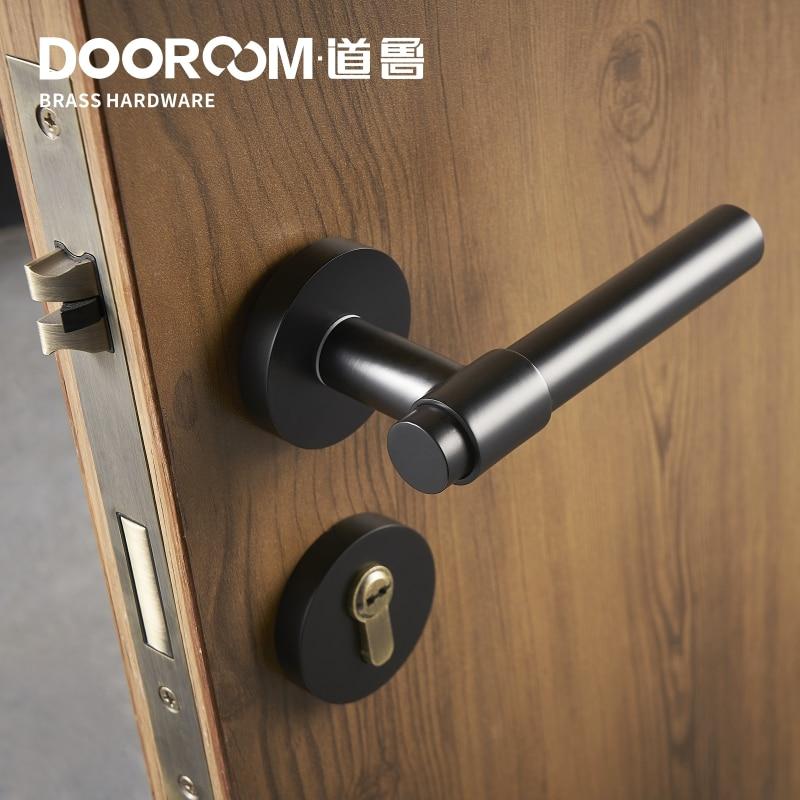 Dooroom laiton levier lumière luxe noir or moderne mode intérieur chambre salle de bains en bois massif porte serrure poignée fendue bouton - 4