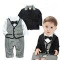 Infant Baby Boy Tuxedo Formal Suit +Romper 2pcs Sets with tie Kids Boys Suit Clothes Set 0-24 Months Gray Black