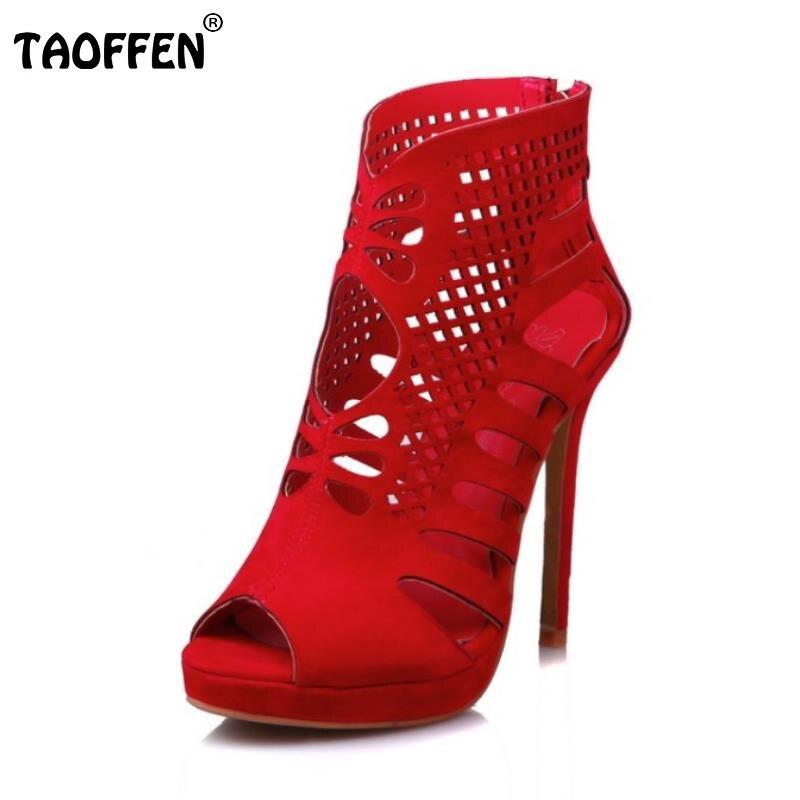 TAOFFEN Plus Size 28-52 Real Leather Women High Heels Sandals Peep Toe Shoes Women Hollow Zipper Sandals Lady Party Footwear denim zipper hollow worn stiletto womens sandals