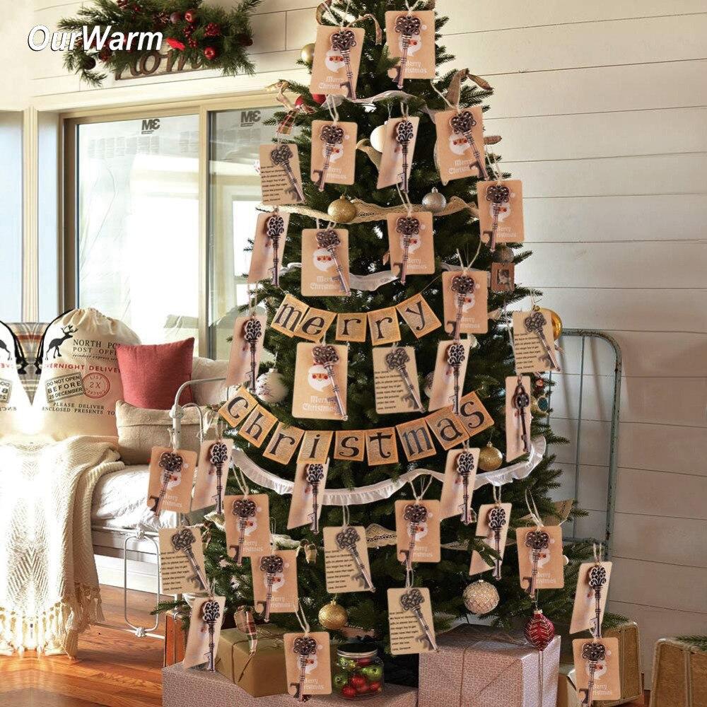 Ourwarm 50pcs Magical Santa Key Tags Christmas Tree