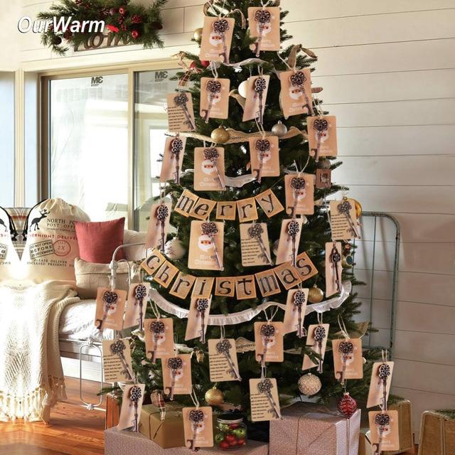 Ourwarm 50pcs Magical Santa Key Tags Christmas Tree Decorations Hanging  Ornaments Christmas Home Decor Santa Pendant