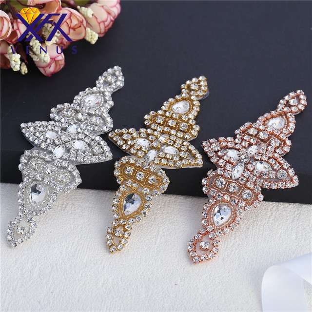 XINFANGXIU Handmade cross Silver Base diamante glass clear rhinestone  applique For wedding evening dress Decoration sewing ffbff88a4879