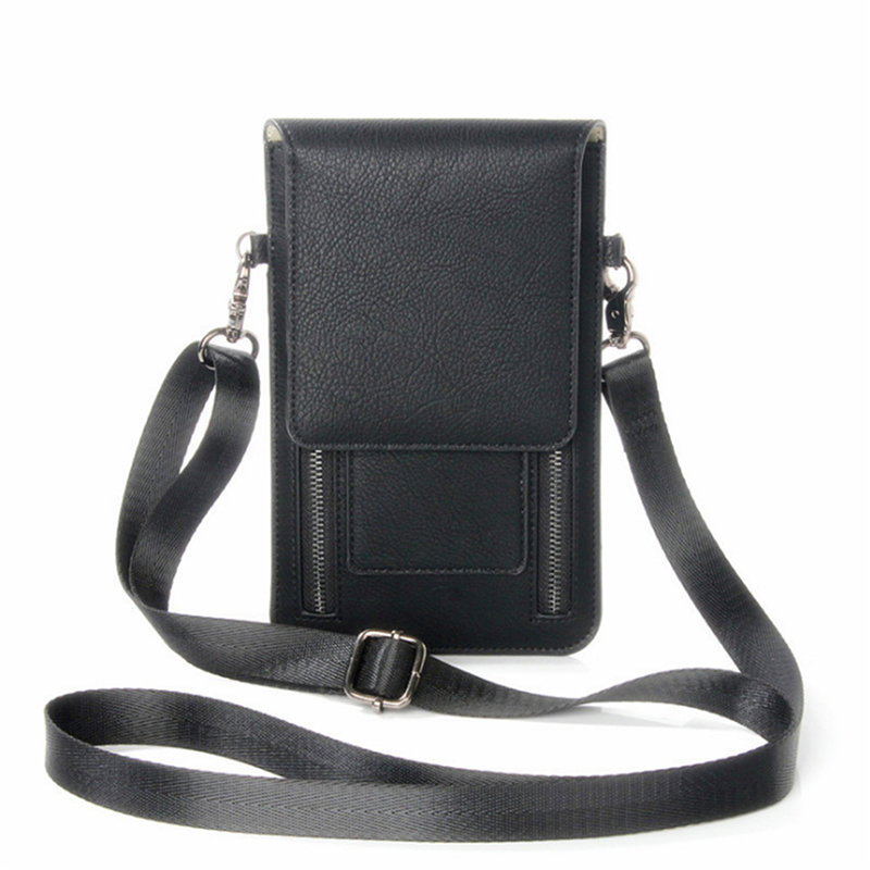 PU Leather Woman Men Solid Phone Bags Earphone Pack Double Zipper Crossbody Bag Fashion Travel Outdoor Sport Shoulder Bag
