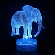 Elephant Animal 3D LED Night Light with 7 Colors USB Table Light for Home Decoration Lamp Visualization Optical Illusion Gift цена