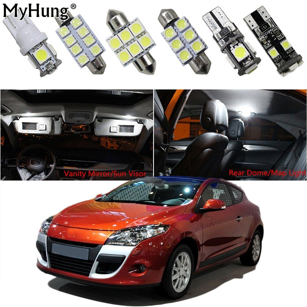 For Renault Megane Car Led Interior Light Replacement Bulbs Dome Map Lamp Light Bright White Front Dome Rear Dome T10 10 PCS application of graph theory in operational research problems