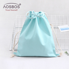 Aosbos 2017 Canvas Drawstring Backpack Men Women Sport Gym Bag Outdoor Training Fitness Bag Durable Drawstring Bag for Shoes