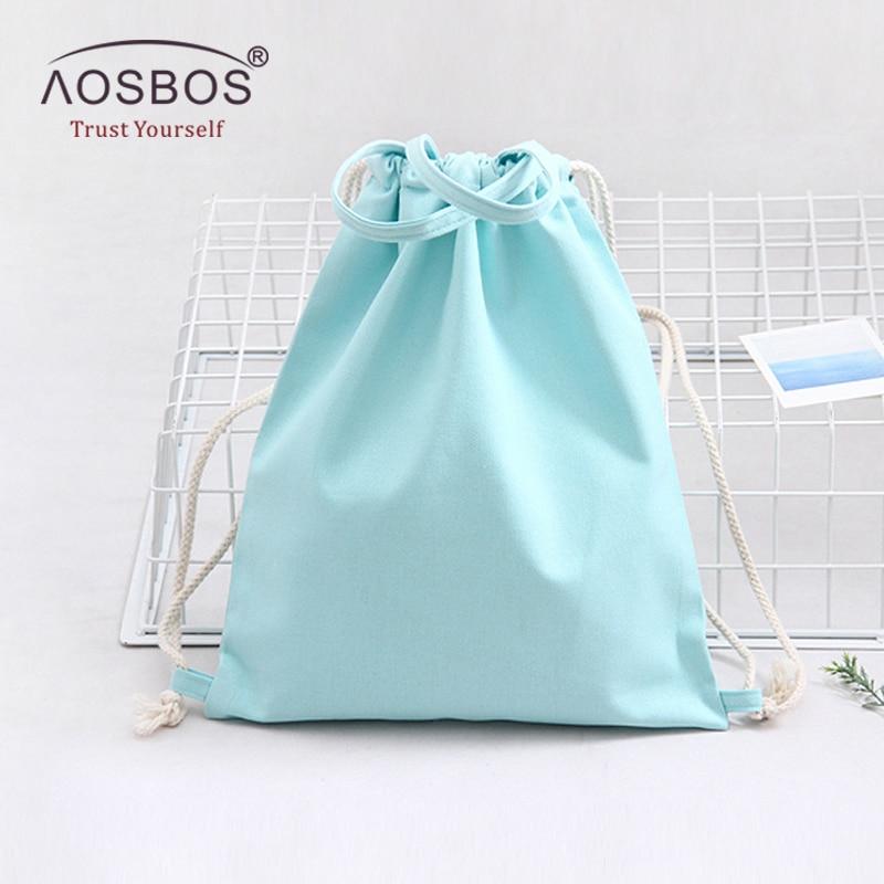 Aosbos Canvas Drawstring Backpack Men Women Sport Gym Bag Outdoor Training Fitness Bag Durable Drawstring Bag For Shoes