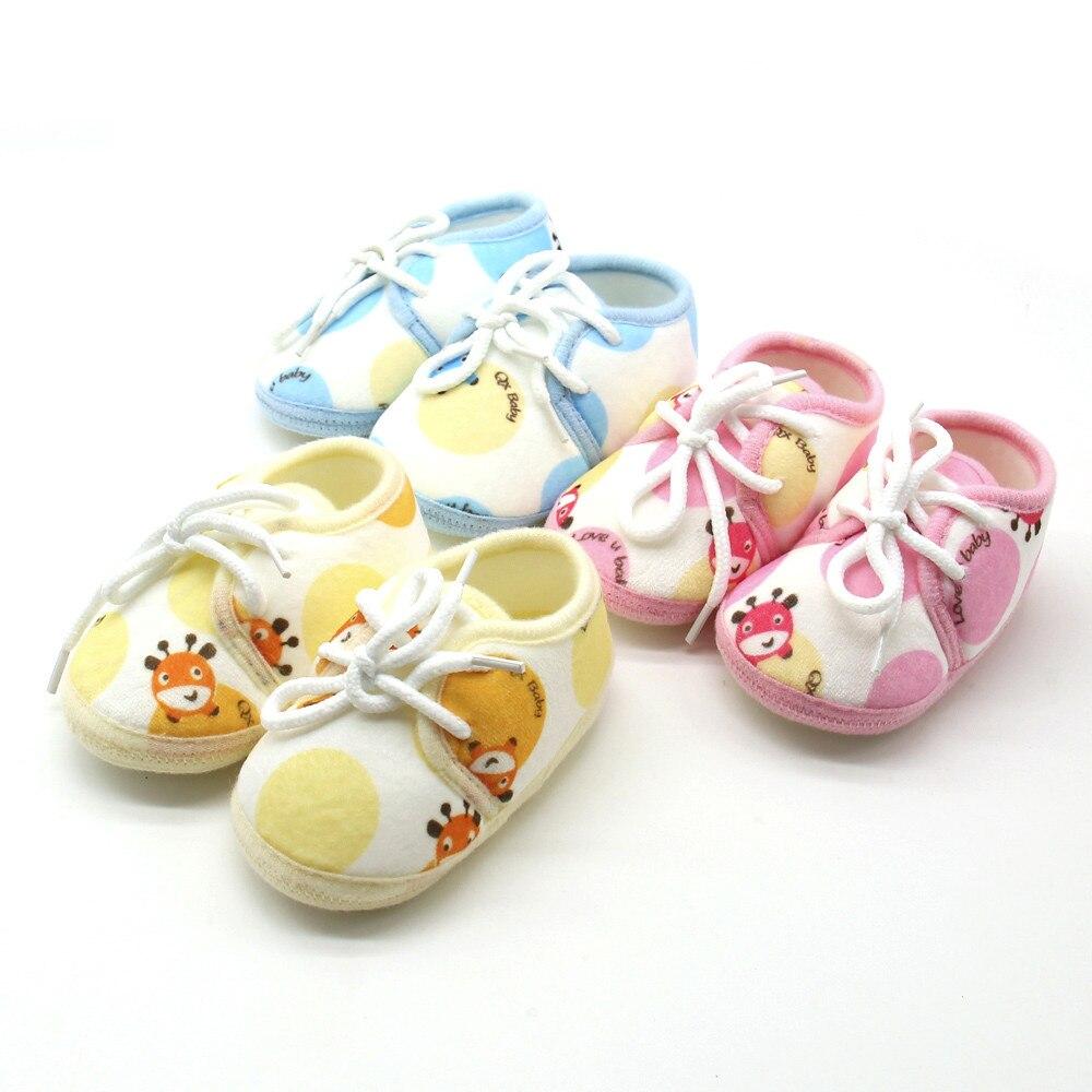 New Autuam Baby Autuam Lace-up Cotton Shoes Seaker Newborn Infant Baby Animal Print Sneaker Anti-slip Soft Sole Toddler Shoes